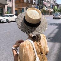 USPOP Verão Mulheres Chapéu De Palha Chapéu Feminino Bloqueando Sol Chapéus De Verão Hand-tecida Chapéu Unisex Beach Hat Chapéu C0305 Y0910