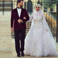 Saidmhamad High Neck Fully Lace Applique Long Sleeves Muslim Wedding Dresses with Kerchief Crystals Bridal Dress vestido de novia