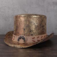 Donne Uomo 100% Pelle Top Cappello Presidente Lday Fedora Hat Magic Flat Steampunk Cosplay Pieno Pieno Pieno Pieno Cappellino Partito 13 cm