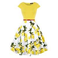 Missjoy Artı Boyutu 4XL Elbise Kleding Vrouwen Vintage Zarif Cap Sleeve Limon Çiçek Baskı Pin Up Moda Elbiseler Kerst Jurk 210317