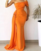 Mermaid Orange Prom Dresses With Streamer One Shoulder Floor Length Women Red Carpet Celebrity Dress Party Gown