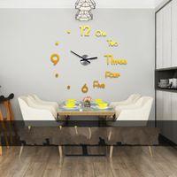 3D acrílico DIY relógio de parede moderno design grande decorativo relógios de quartzo silencioso movimento sala de estar Decorativo relógios pretos dourado 674 K2