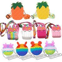 Christmas Gift Fidget Toys New Unicorn Simple Dimple Messenger Bag Push Bubble Antistress Children Toy Pops Its Keychain Wallet