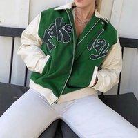 Women's Jackets outono mulher impresso carta verde bombardeiro jaqueta feminino streetwear tomar um jogo solto turn down collar zí