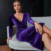 Casual Dresses Sequin Velvet Dress Women Purple At Knee Length Party For Woman V-neck Long Sleeve Bodycon