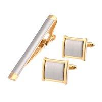 Cufflinks And Necktie Tie Clip Set Gold Cuff Link High Quality Pins links Cuffs Shirts Wedding Men Jewelry Accessories QiQiWu