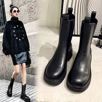Chelsea Ankle Boots Female Star Same Product Platform Martin Boots Women S British Style Leather Chunky Heel Slimming Middle Boots Women S