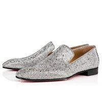 Shiny Men Business Dress Oxfords Shoes Red Soles Strass Rhinestone Flat Slip On Loafers Shoe Reds Bottom Outdoor Party Wedding Flats Luxury