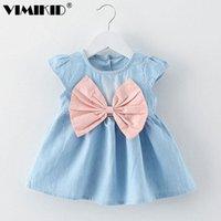 Vestidos da menina Vimikid Meninas de bebê Design Mini vestido Crianças Estilo de Verão Fashion Manga Curta Partido Crianças Roupas 2021 K1