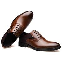 Bimuduiyu İş erkek Temel Düz Süper Fiber Deri Nazik Gelinlik Ayakkabı Marka Resmi Giyen İngiliz Büyük Boy 210316