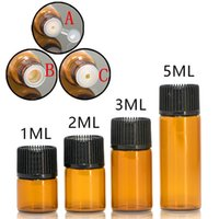 100 adet 1 ml / 2 ml / 3 ml / 5 ml Boş DRAM Temel İnce Cam Küçük Amber Parfüm Yağı Flakon Örnek Test Şişesi