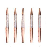 PLASPOINT Pens Rose Gold Pen Bling Rhinestone Ground Black Ink Pack-6 Pack و 6 عبوات إضافية (حزمة معدنية روز)