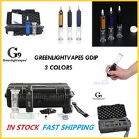 Authentisches G9 GROWLIGHTVAPES KIT GDIP DABBER Tragbare Mini DAB Rig 1000mAh Emeail Collector Stroh mit Glas Bubbler Wasserleitung