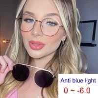 Sunglasses Finished Round Myopia Glasses Men Women Clip On Polarized Sun Female Grade Oculos -1 -2 -3 Anti Blue Light Clear