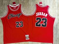 MännerChicagoBullenTrikots Michael Jordon Basketball-Trikots, feines Nähen bestickte rote Souvenir-Basketball-Trikots 01