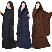 Eid Müslüman Kadınlar Başörtüsü Elbise Dua Giysi Seti Jilbab Namaz Tam Kapak Ramazan Uzun Khimar Kıyafeti Abayas İslam Giysileri Niqab