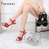 Voesneas Super High Heel Talón 14 cm Plataforma impermeable Sandalias Mujeres 2021 Moda Mostrar Discoteca Femenino Catwalk Polo Pole Shoes
