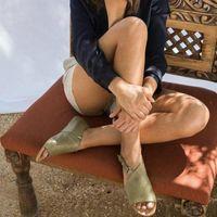 Europe 2019 Été Nouvelles Femmes Sandales Sandales Appartements Chaussures Femme Fashion Casual Boucle Boucle Poisson Bouche Poisson Sandales Roman Plus Taille 34 43 Coins Sho F7ub #