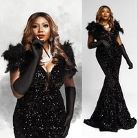 Sexy Arabic Aso Ebi Black Feather Mermaid Prom Dresses Deep V Neck Cap Sleeves Lace Sequined Sparkly Evening Formal Party Gowns Sequins Sweep Train Plus Size