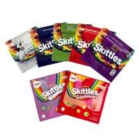 Toptan Boş Skittles Gummies Mylar Çanta 400mg İlaçlı Ekşi Gökkuşağı Yemekleri Şeker Gummy Fermuar Ambalaj Skittle Çanta