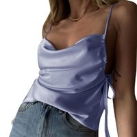 Women's Tanks & Camis Women Summer Spaghetti Strap Crop Top Sexy Cowl Neck Solid Color Satin Camisole Pleated Ruched Side Drawstring Slim Ve