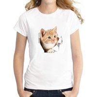 Colección de animales Elemento gato Femenino Tshirts Impreso 3D Casual Street Rol Jugar camiseta Cuello redondo Cuello redondo Camiseta de manga corta Ropa Neutral Verano