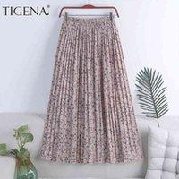 Tigena gasa larga falda plisada mujer moda verano floral estampado holiday una línea alta cintura maxi hembra estética
