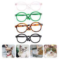 Cationes de gato 4pcs Gafas transparentes Pet Gafas de sol Moda Cosplay