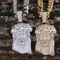 Высокое качество Иисусский кусочек Кулон Мужские Ювелирные Изделия Хип Хоп Роскошный Дизайнер Bling Diamond Lyed Out Подвеска Кубинская Ссылка Цепочка Рэфпер Золото Серебряные Мужчины