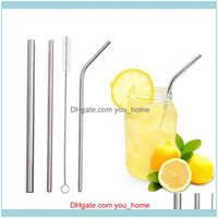 Barware Kitchen, Dining Home & Garden3Pcs Metal Stainless Steel St Set Straight Tubes Bent Drinking Reusable Sts With Bag Cleaning Brush Par