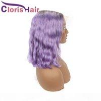 Rose Purple Wavy Ombre Human Hair Lace Front Wig Pixie Cut Malaysian Remy Безвездовые бобовые парики для черных женщин 13x4 Кузовной волна Цветной короткий парик