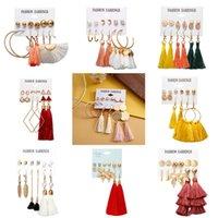 6 Paare Ohrringe Set Schmuck Mode Frauen Geometrische Legierung Tropfen Ohrringe Böhmen Stil Multi-Color Quasten Ohrringe 3476 Q2