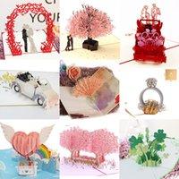 Tarjetas de compromiso emergentes 3D Invitación de boda Tarjetas de felicitación Corte Laser Día de San Valentín Regalo Tarjeta de aniversario al por mayor