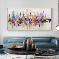 그림 Reliabli 추상 다채로운 도시 그림 캔버스 헥헥 카트 프리 포스터와 프린트 벽 아트 거실 홈 장식