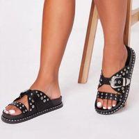 Slippers Women Summer Beach Flat Shoes Woman Slides Outdoor Crystal PU Leather Flatform Sandalias Mujer Sapato Feminino N213