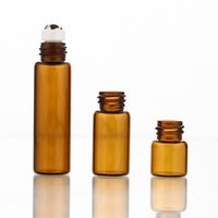100pcs 1ml 2ml 3ml 5ml amber Glass Perfume Bottles With Roll On Empty Cosmetic Vial For Traveler