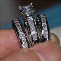 Vecalon Fine Gioielli Principessa Taglio 20CT CZ Diamond Engagement Band Band Anello per le donne 14kt Bianco Gold Gold Ring Finger Anello 12 R2