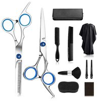 Hair Scissors Cutting Kit Stainless Steel Shears Razor Barber Comb Clips Salon Apron Accessories