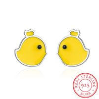 100% S925 Стерлинговые серебро желтый цыпленок Серьги для животных Ювелирные Изделия Серебряный Chook Куриные серьги для женщин Детская принцесса