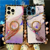 Fashion Designer Phone Cases For iPhone 13 Pro Max 12 11 XR XS 8 Plus Samsung Galaxy A03S A12 A32 A82 Moto G Stylus 2021 5G TPU Acrylic 2 In 1 Square Shockproof Cover