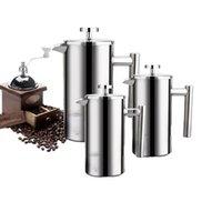 Teiera in acciaio inox Caffè Caffè Caffè espresso Pentola 350ml 800ml 1000ml Filtro percolatore di tè da 1000ml Filtro francese Pullunger con cucchiaio 210910