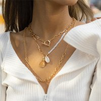 Chains Trend Hip-hop Style Geometric OT Buckle Rice Bead Necklace Korean Punk Multi Layer Combination Hollow Clavicle Chain Jewelry