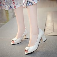 Sandals Women's Shoes 2021 Summer Style Fish Mouth Thick Heel Mid-heel Open Toe Korean Fashion High-heeled