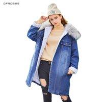 Women's Jackets Big Fur Collar Warm Lamb Jean Jacket Women 2021 Fashion Long Sleeve Ladies Hoodies Winter Coats Denim Femme Outerwear