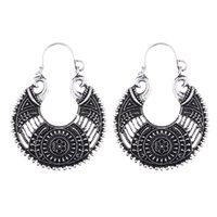 Fashion Ethnic Gypsy Boho Drop Earrings For Women Antique Silver Plated Carved Hollow Flower Vintage Earrings