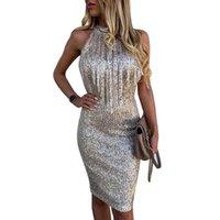Casual Dresses Sale Sequin Dress Women Sleeveless Sexy Night Club Fashion Lady Summer Mesh Gold Bodycon Clubwear Prom Vestido D30