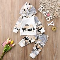Pudcoco babys recém-nascido bebê meninos meninas cervos capuz tops calças leggings outfits conjunto de roupas au 210309