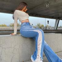 Yırtık Flared Kot Kadınlar Dikiş Yıkanmış Denim Pantolon Ağartılmış Sıska Geniş Bacak Pantolon 2021High Bel Retro Streetwear