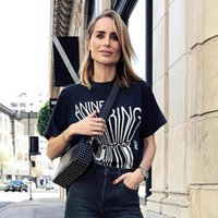 Women's T-Shirt Letter Graphic Tee Shirts Woman Summer Short Sleeve Round Neck Cotton Black Casual Vintage Rock Classic Tshirt Top 2021
