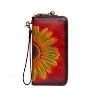 Wallets Genuine Leather Wallet Real Cowhide Men Women 3D Flower Pattern Purse Long Designer Cash Coin Pocket Card Holder Clutch Bag